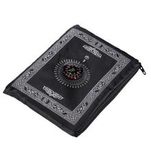 휴대용 방수 무슬림기도 매트 깔개 나침반 빈티지 패턴 이슬람 Eid 장식 선물 포켓 크기 가방 지퍼 스타일