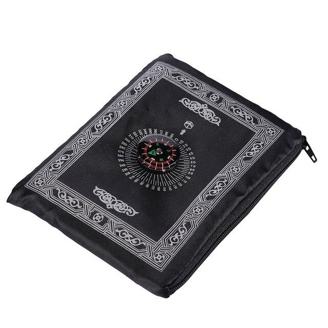 Przenośna wodoodporna muzułmańska mata do modlitwy dywan z kompasem wzór Vintage islamska Eid dekoracja prezent kieszonkowy rozmiar torba na suwak w stylu