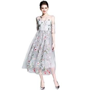 Las mujeres malla de Vestidos hermosa pura bordado largo Vestidos x