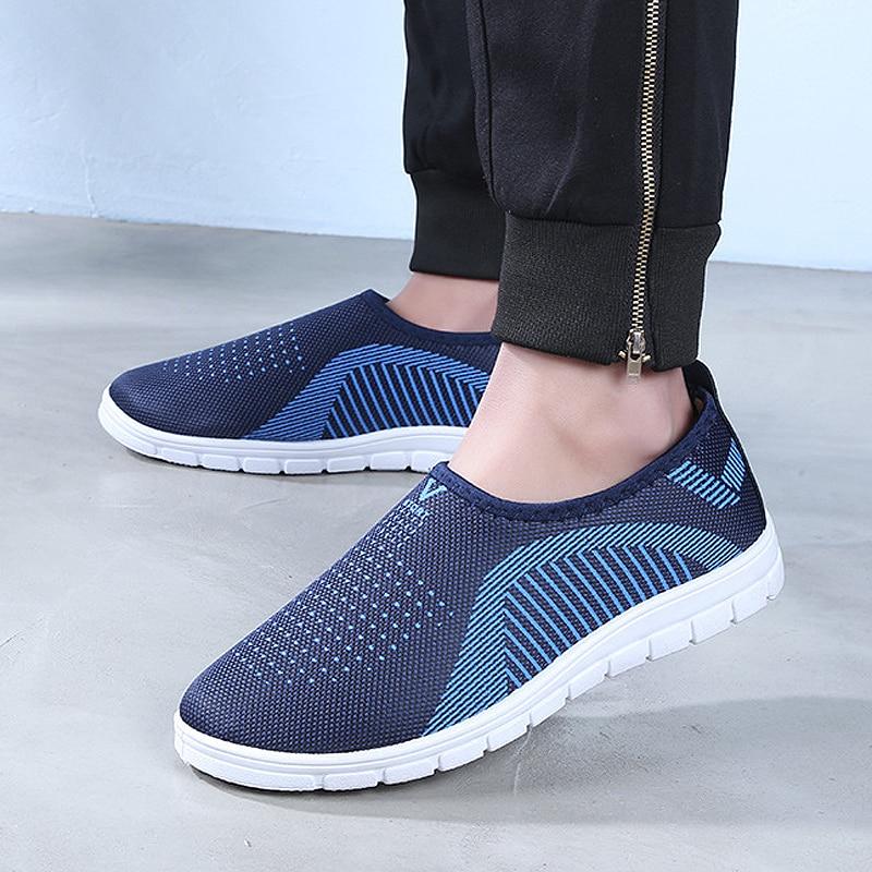 YeddaMavis Blue Men Shoes Mens Loafers Soft Mesh Flats Slip-on Walking Stripe Sneakers Women Running