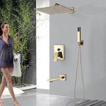 "Golden Rainfall  Shower Faucet Set Wall Mount Stainless Steel 8/10/12""  Head Shower Mixer Tap Conceealed Install Bath Shower Tap"