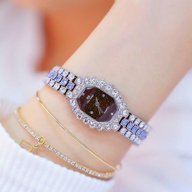 Watches Womens 2020 Top Luxury Brand Small Dress Diamond Watch Women Bracelet Rhinestone Wristwatch Women Montre Femme  4