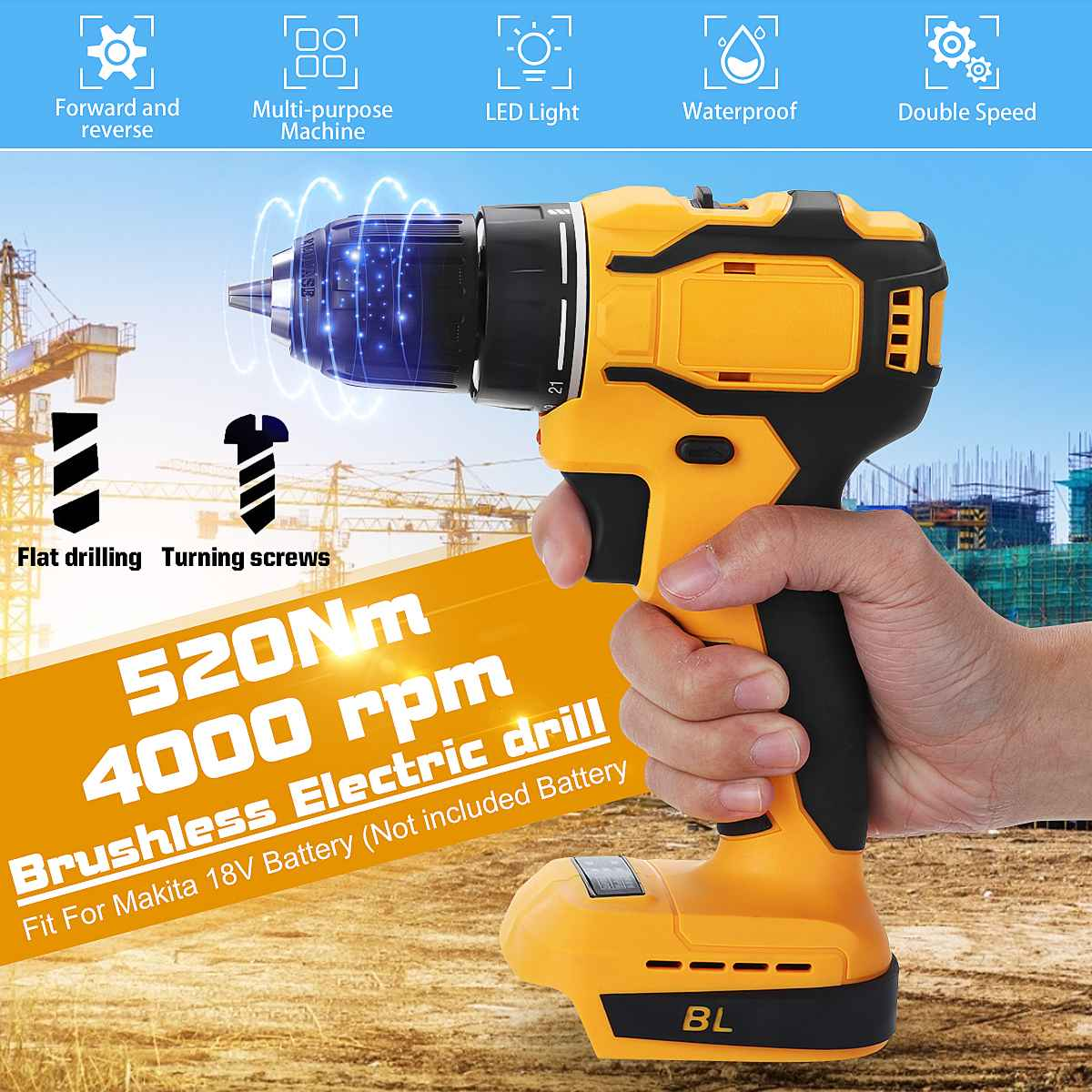 Mini Professional Cordless Drill Power Tools 520Nm Cordless Screwdriver Drills(no battery) Fit For Makita 18V Battery