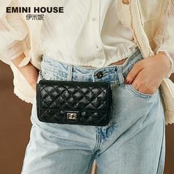 EMINI HOUSE Diamond Lattice Waist Pack Oil Wax Genuine Leather Chain Bag Crossbody Bags For Women Shoulder Bag Ladies Purse