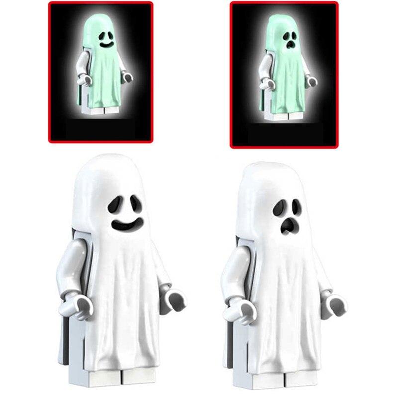 Glow Dark Ghost Vitruvius Figures Toy Horror Theme Movie Building Blocks Halloween Moonlight Super Hero Toy For Children Kids