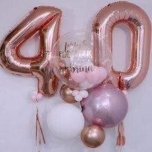2 pçs rosa ouro número folha balões de hélio parabenizar 23 25 30 50 60 anos de idade adulto festa de aniversário decoração suprimentos aniversário