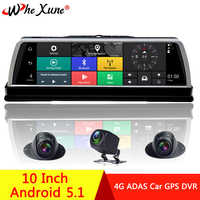 """WHEXUNE 2019 New 4 Channel Android 5.1 WIFI Car DVR Camera 4G 10"""" IPS ADAS GPS Navigation Dash Cam Full HD 1080P Video Recorder"""