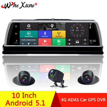 WHEXUNE 2019 New 4 Channel Android 5.1 WIFI Car DVR Camera 4G 10 IPS ADAS GPS Navigation Dash Cam Full HD 1080P Video Recorder
