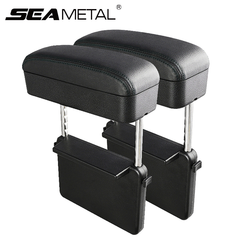 Adjustable Car Armrest Box Set Universal Car Arm rest Box Interior Auto Elbow Support Case Car Accessories Organizer Both Side title=
