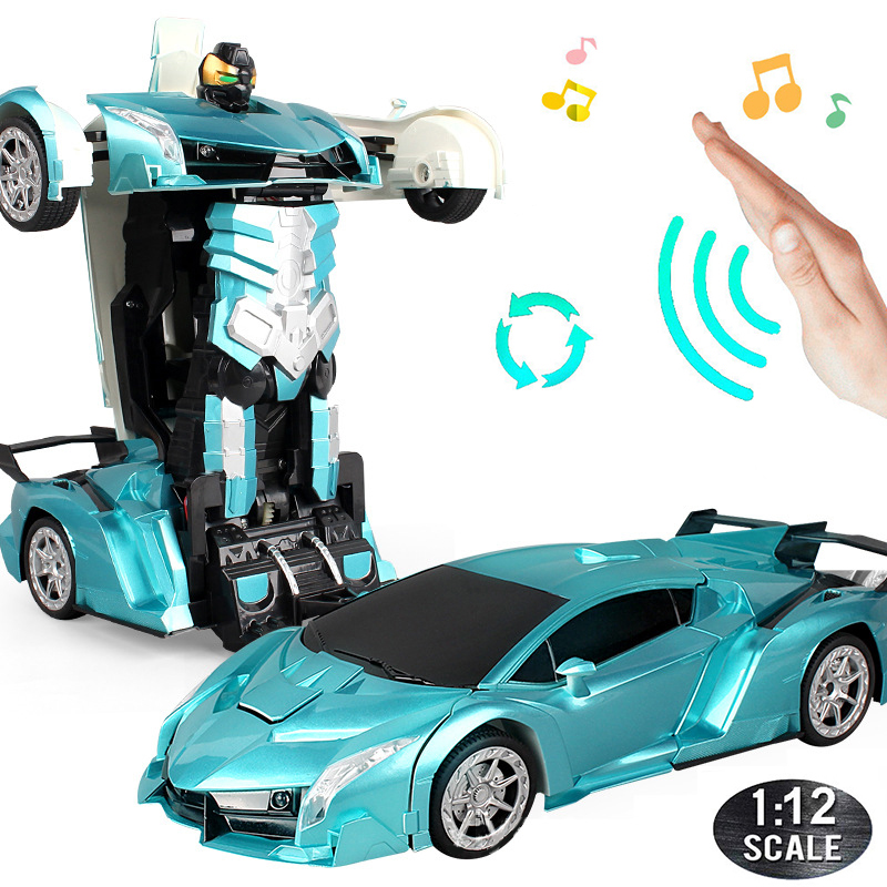 38 cm RC Car 2.4Ghz Induction Transformation Robot 1:12 Deformation Electric Remote-controlled Sports Cars Toy for Children A03