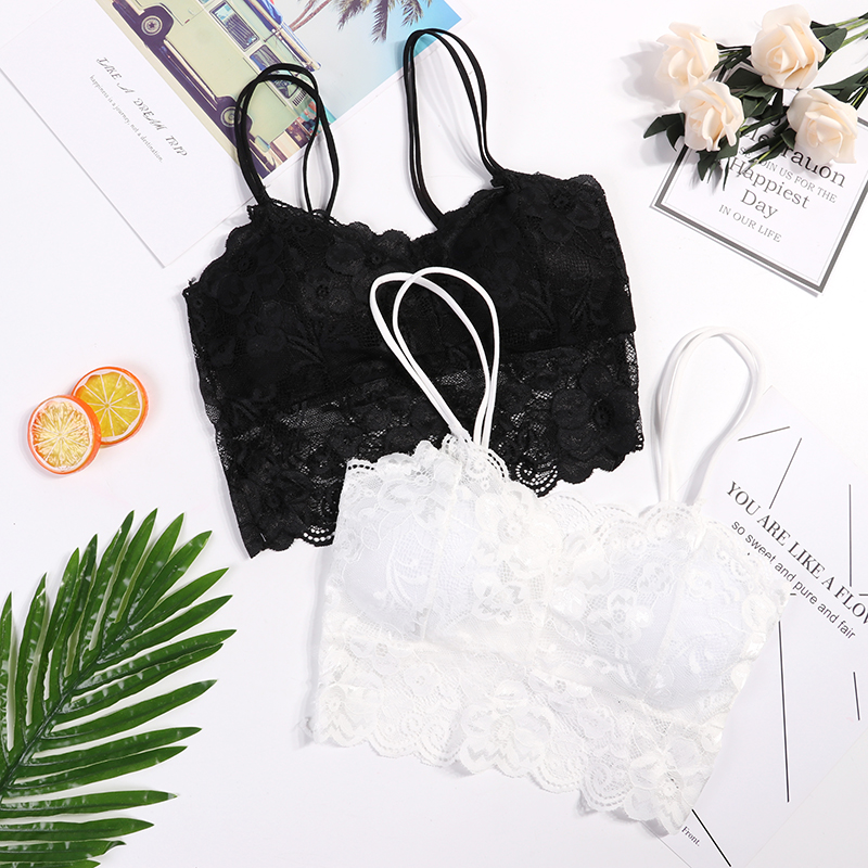 Hot Sell Stylish Sexy Women's Sleeveless Lace Flower Hollow Out Solid Vest Crochet  Plus Size  Bralette Bra Hot