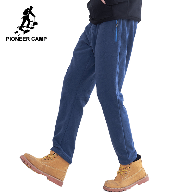 Pioneer Camp US Size Fleece Warm Pants Men Brand Clothing Solid Autumn Winter Casual Trousers Male Soft Straight AZZ801372Y