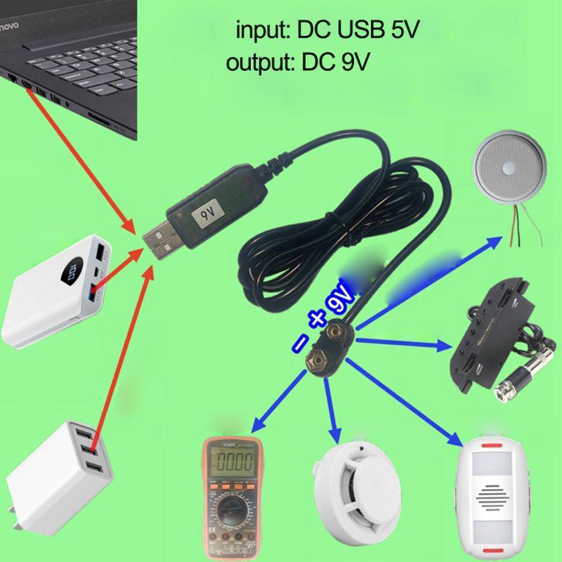 9V Battery Eliminator USB Cable 5V Boost To 9V Voltage Converter Step-up Volt Transformer DC Power Regulator Line For Multimeter