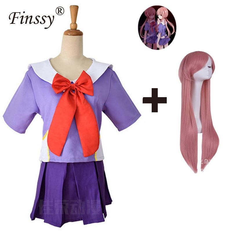 Anime Mirai Nikki Gasai Yuno Lolita Sailor Cosplay Costume Loli Bow Short Skirt Wig Length 80cm