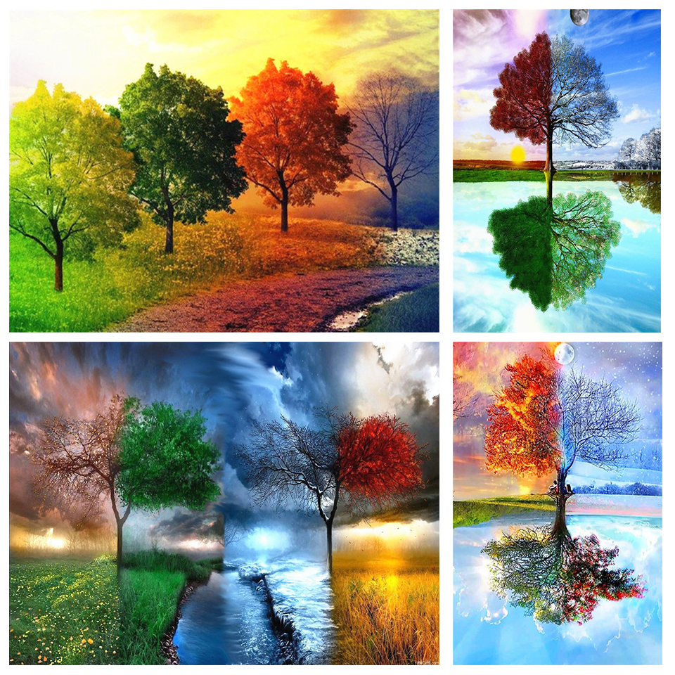 5D DIY Full Square/Round Diamond Painting Color Tree Four Seasons Tree Home Decoration Gifts Cross Stitch Rhinestone Embroidery