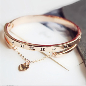 Hot Luxury Rose Gold Stainless Steel Bracelets Bangles Female Love Heart Charm Bracelet for Women Famous Jewelry Dropshipping