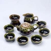Multicolor Glaze porcelain Tea set,Blue and white porcelain 6pcs teacup 1pcs teapot.Kung Fu tea pot Creative of tea set
