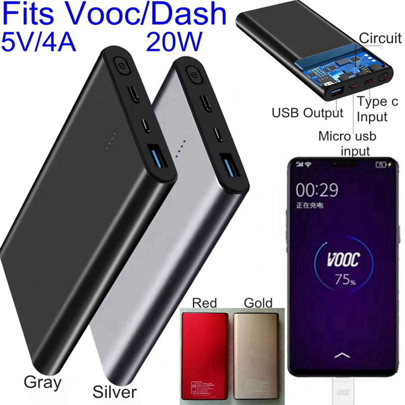 10000mah Vooc Power Bank Dash 5V 4A for <font><b>Oneplus</b></font> 5T 5 <font><b>6</b></font> 6T 3T Oppo R15 R11 R9S Dash Vooc Charger image