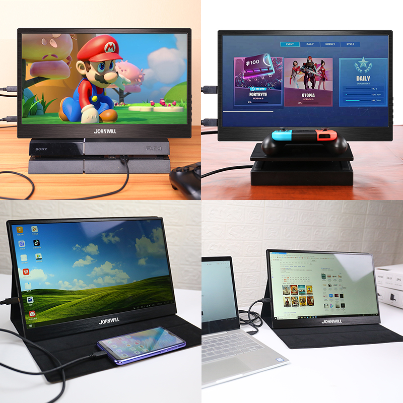 "Portable Monitor 15.6"" LCD USB Type C Hdmi  gaming monitor ips 1080p HD display for PS4 Laptop Phone Xbox Switch Pc with Case 1"
