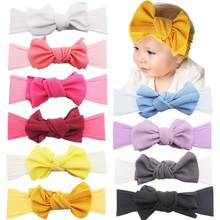 10PCS Baby Turban Headbands Knotted Nylon Headbands Large Big 5'' Hair Bows Headbands for Newborns Toddlers Infants(China)