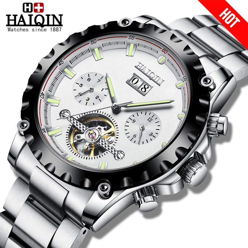 HAIQIN 2020 New Men's Watches Mechanical Watch Mens Watch Automatic Mens Watches Top Brand Luxury Sport Reloj Hombre Tourbillon