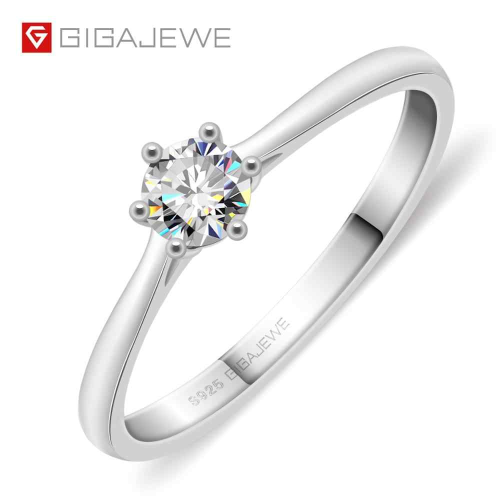 GIGAJEWE 0.3ct 4Mm Round Cut EF VVS1 Moissanite 925 Perak Cincin Berlian Lulus Tes Fashion Cinta Token Fashion Pacar hadiah