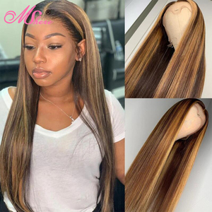 Mshere 4/27 Ombre Highlight Human Hair Wig Brown Honey Blond Color 13x4 Lace Front Wigs For Black Women Remy Lace Frontal Wig