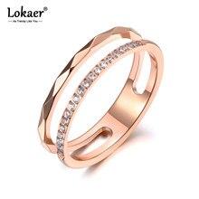 Lokaer-Anillo de titanio de acero inoxidable para mujer y niña, sortija de boda, mosaico de circonia cúbica, cristal de oro rosa, joyería, R19063