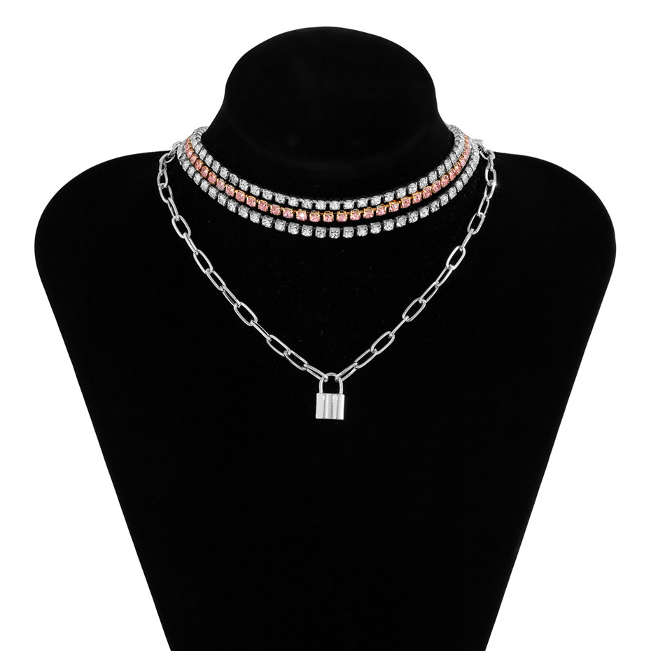 4-Piece Multi Layer Lock Pendant and Tennis Chain Necklace Choker Jewellery Sets Layered Necklace Necklaces Pendant Necklace Metal Color: silver color