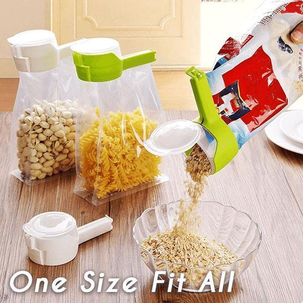 Seal And Pour Food Storage Bag Clip Seal Pour Snack Sealing Clip Keeping Fresh Sealer Clamp Food Sealing Clip Kitchen Tools