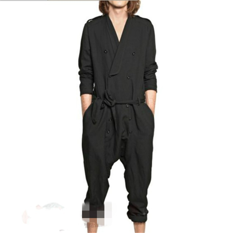 Europe And America Large Size Casual Jumpsuit Loose-Fit Onesie Spring And Summer Fashion Man Romper Men's Trousers Hair Stylist