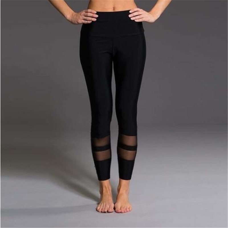 Mesh Patchwork Leggings Elastic Slim Leggings Mujer Fitness High Waist Leggings For Women Soild Color Workout Leggins Plus Size