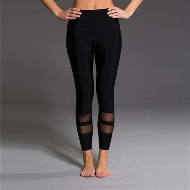 Mesh Patchwork Leggings Elastic Slim Leggings Mujer Fitness High Waist Leggings For Women Soild Color Workout Leggins Plus Size