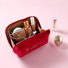 Make-Up-Bag Necessaries Velvet Travel Zipper PURDORED Large Women Solid for Female 1-Pc
