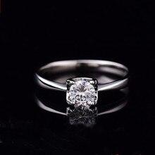 ホワイトゴールドモアッサナイト女性 d 色 0.5ct 2ct スーパーフラッシュ婚約指輪クラシック S925 スターリングシルバーリング femlae ファインジュエリー