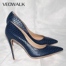 Veowalk sexy mulher pele de cobra em relevo sapatos de salto alto estilo italiano azul marinho moda senhoras extremamente alta stilettos bombas