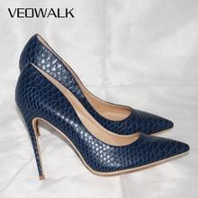 Veowalk סקסי נשים נחש עור בולט גבוהה העקב נעלי איטלקי סגנון חיל הים כחול אופנה גבירותיי מאוד גבוהה עקב משאבות