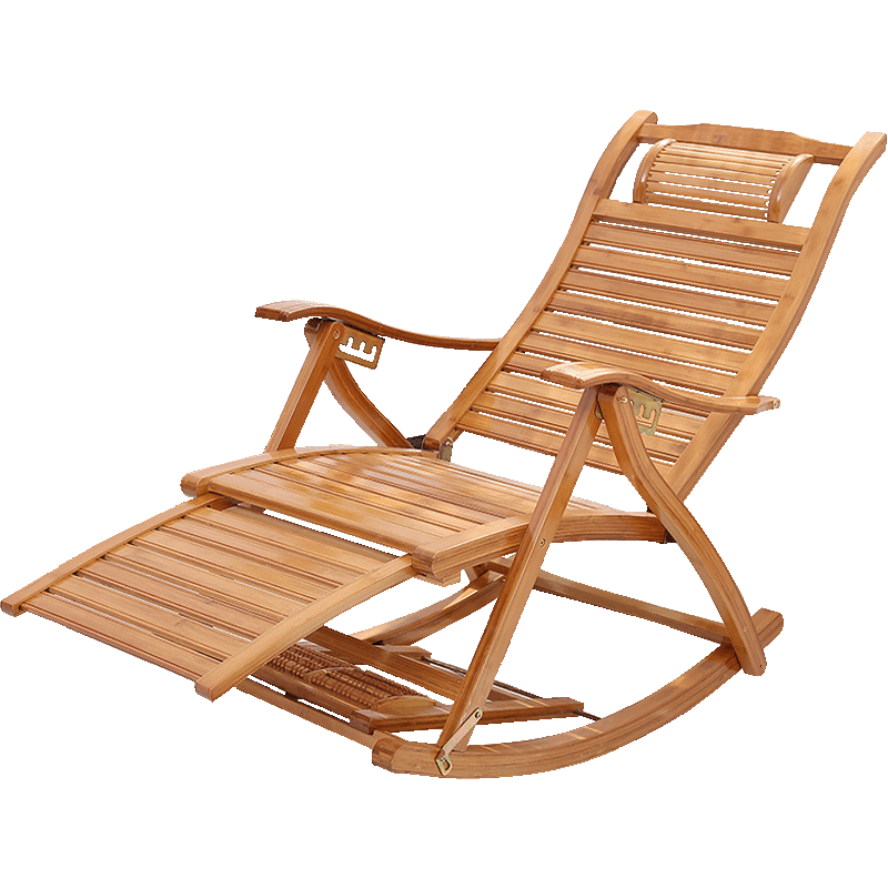 Folding Rocking Chair Household Elderly Recliner Rocking Chair Sleeping Chair Noon Rest Unfettered Chair Bamboo Recliner Nap Cha