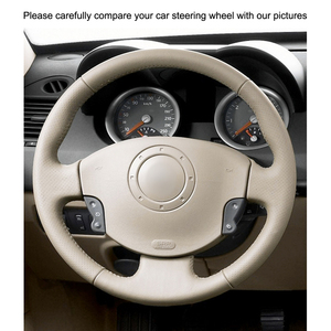 Image 3 - Hand stitched Beige PU Artificial Leather Steering Wheel Covers for Renault Megane 2 Scenic 2 Grand Scenic Kangoo 2 2002 2013