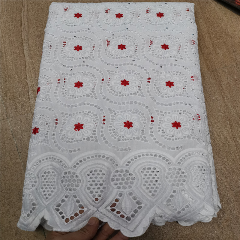 5 Yard Swiss Lace Fabric 2019 Latest Heavy Beaded Embroidery African Cotton Fabrics Swiss Voile Lace Popular Dubai Style HL0721