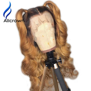 Image 2 - ALICROWN Ombre Lace Front Human Hair Wigs Brazilian Non Remy Hair 13*4 Lace Wigs 1b/27 Pre Plucked Wigs With Baby Hair