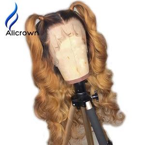 Image 2 - ALICROWN Ombre dantel ön İnsan saç peruk brezilyalı olmayan Remy saç 13*4 dantel peruk 1b/27 ön peruk bebek saç ile