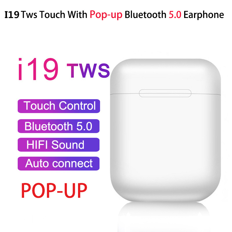 I19 TWS Drahtlose Kopfhörer <font><b>Bluetooth</b></font> 5,0 Touch Control Automatische pop up sport Headset 3D Stereo mit lade fall pk i13 i10 i14 image