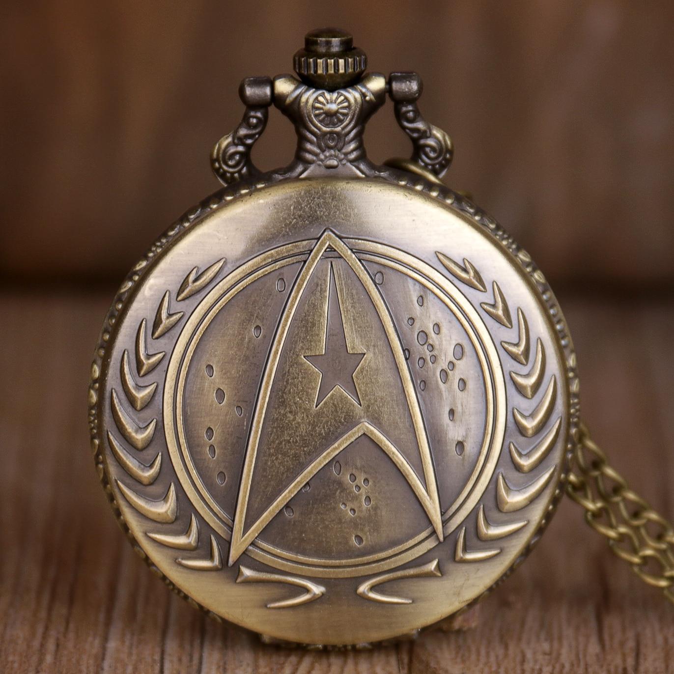 Vintage Bronze Quartz Pocket Watch Steampunk Men Boy Pocket Watches Necklace Chain Gift Relogio De Bolso
