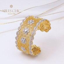 Sterling Silver Lace Pattern Wide Bangle 18K Gold Tone Flower Element Open Cuff Renaissance 2021CZ Bracelet Premium Fine Jewelry