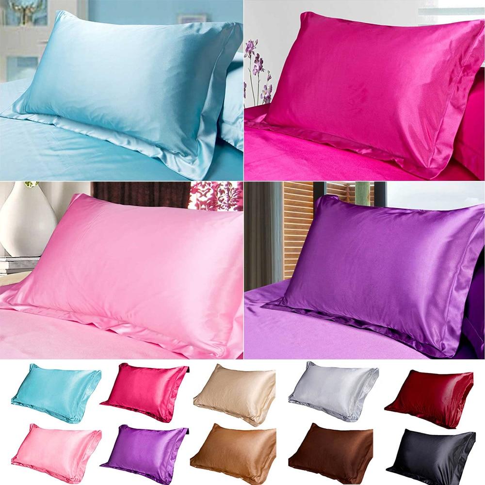 Pure Emulation Silk Satin Pillowcase Comfortable Pillow Cover Pillowcase For Bed Throw Single Pillow Covers|Pillow Case|   - AliExpress