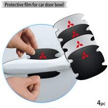 4 pçs maçaneta da porta do carro de fibra carbono adesivos automotivos etiqueta dos bens para mitsubishis logotipo outlander asx lancer ex pajero l200 evo