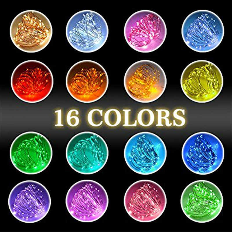 Image 5 - Remote Control Fairy Led String Lights 16 Colors USB 5V 5m/10m Christmas Garland Outdoor light for Wedding Xmas Party Decoration-in LED String from Lights & Lighting on