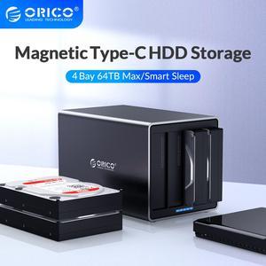 Image 1 - Док станция ORICO серии NS для жесткого диска 3,5 дюйма, 4 отсека, Тип C, поддержка 64 ТБ, USB, 5 Гбит/с, чехол для жесткого диска UASP с адаптером 78 Вт, корпус для жесткого диска