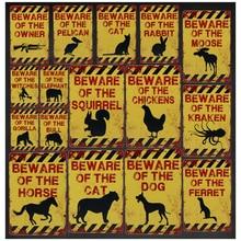 Cuidado con el perro gato Tintin Vintage placas Bar lata signo decoración de la pared medalla pintura arte hierro cartel Stickets 8x12 pulgadas H47